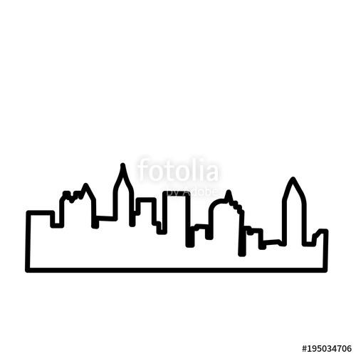 500x500 Atlanta Skyline Silhouette Outline On White Background Stock