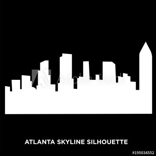 500x500 White Atlanta Skyline Silhouette On Black Background