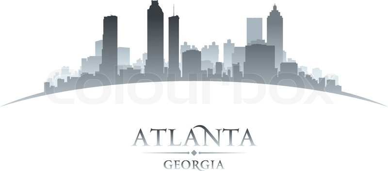 800x354 Atlanta Georgia City Skyline Silhouette. Vector Illustration