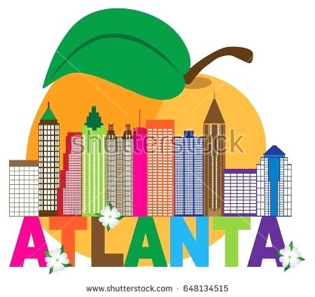 450x424 Atlanta Skyline Art City Skyline Abstract With Peach Dogwood