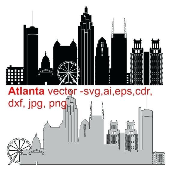 570x570 Atlanta Skyline Silhouette City Silhouette Skyline Vector Instant