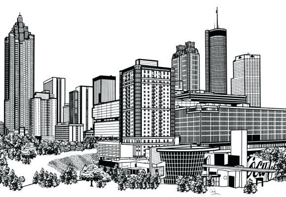 580x400 Atlanta Skyline Silhouette City Silhouette Skyline Vector Instant