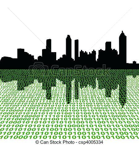 450x470 Atlanta Skyline Art With Binary Vector Chaincuttersunion