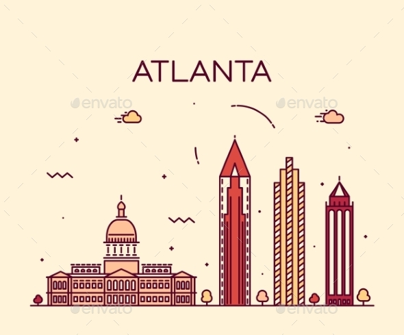 590x489 Atlanta Skyline Trendy Vector Illustration Linear By Gropgrop