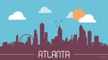 427x240 Atlanta Usa Skyline Silhouette Flat Design Vector Atlanta Nail