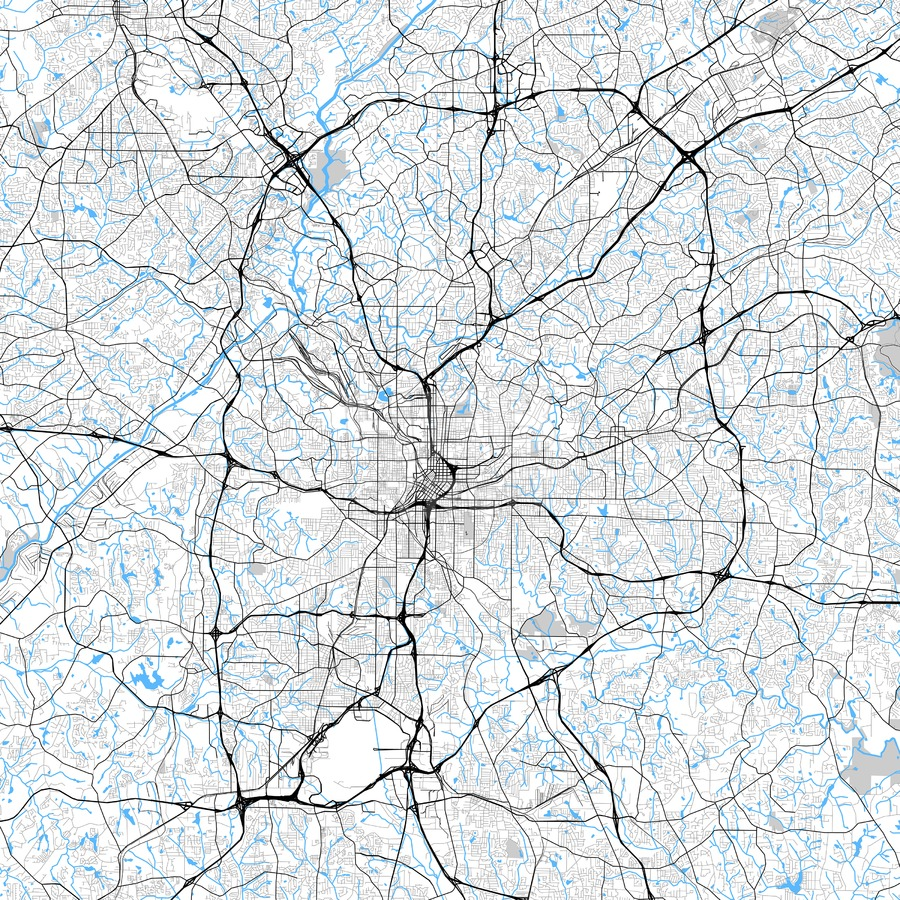 900x900 High Resolution Atlanta, Georgia Vector Map Hebstreits