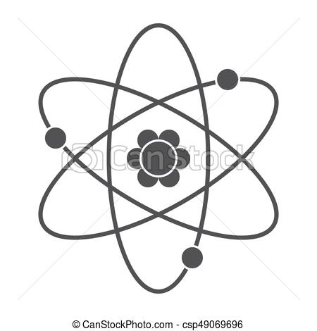 450x470 Atom Vector Icon. Science Concept With Atomic Model, Vector
