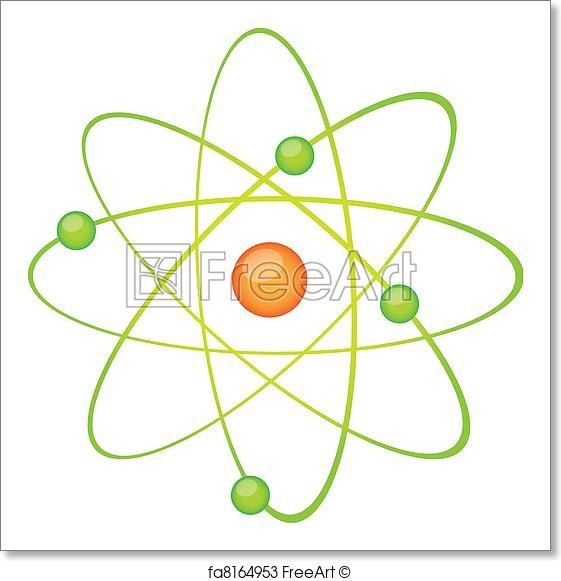 561x581 Free Art Print Of Green Atom Vector. Green Atom Isolated Over