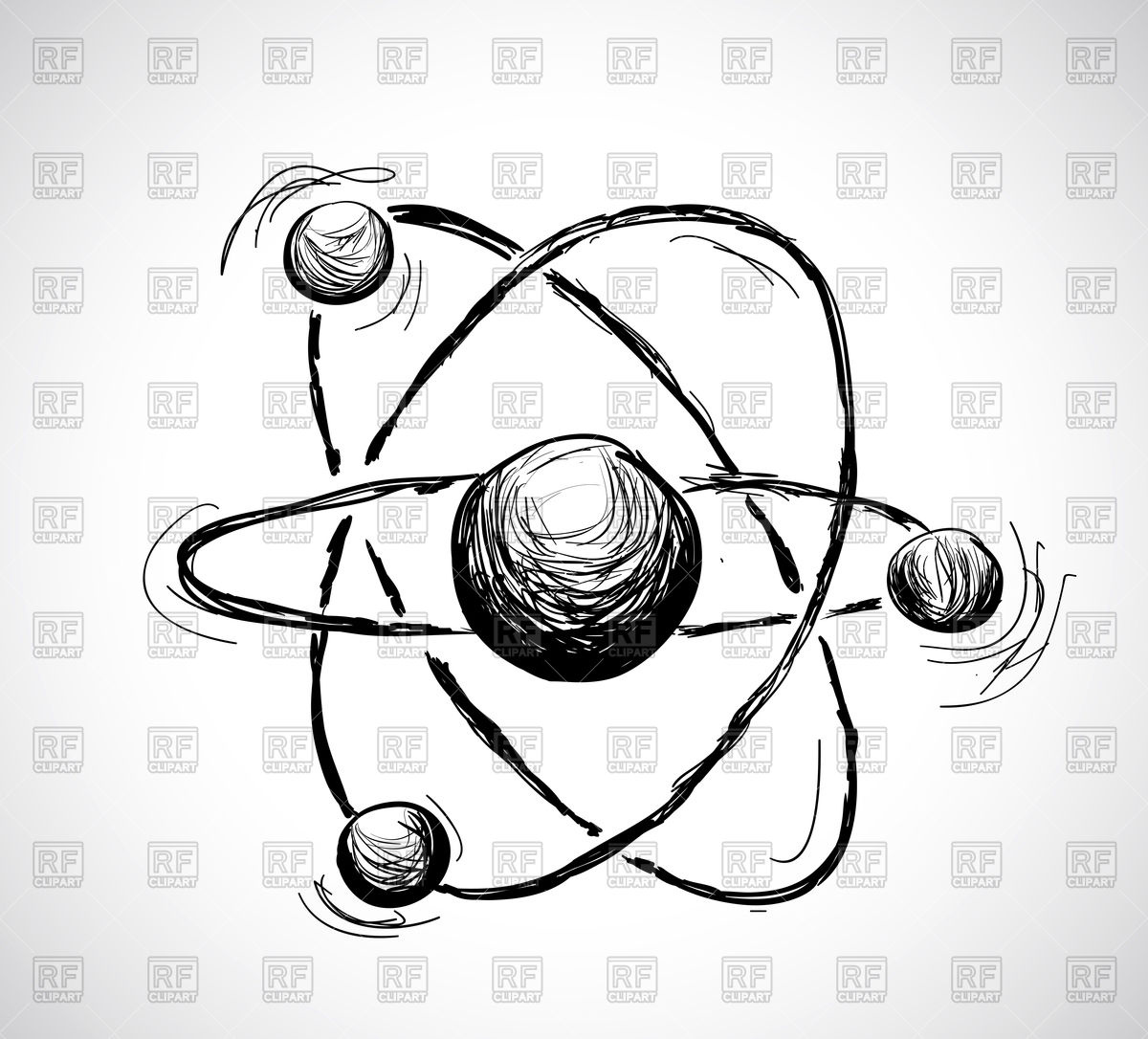 1200x1086 Hand Drawn Atom Vector Image Vector Artwork Of Objects