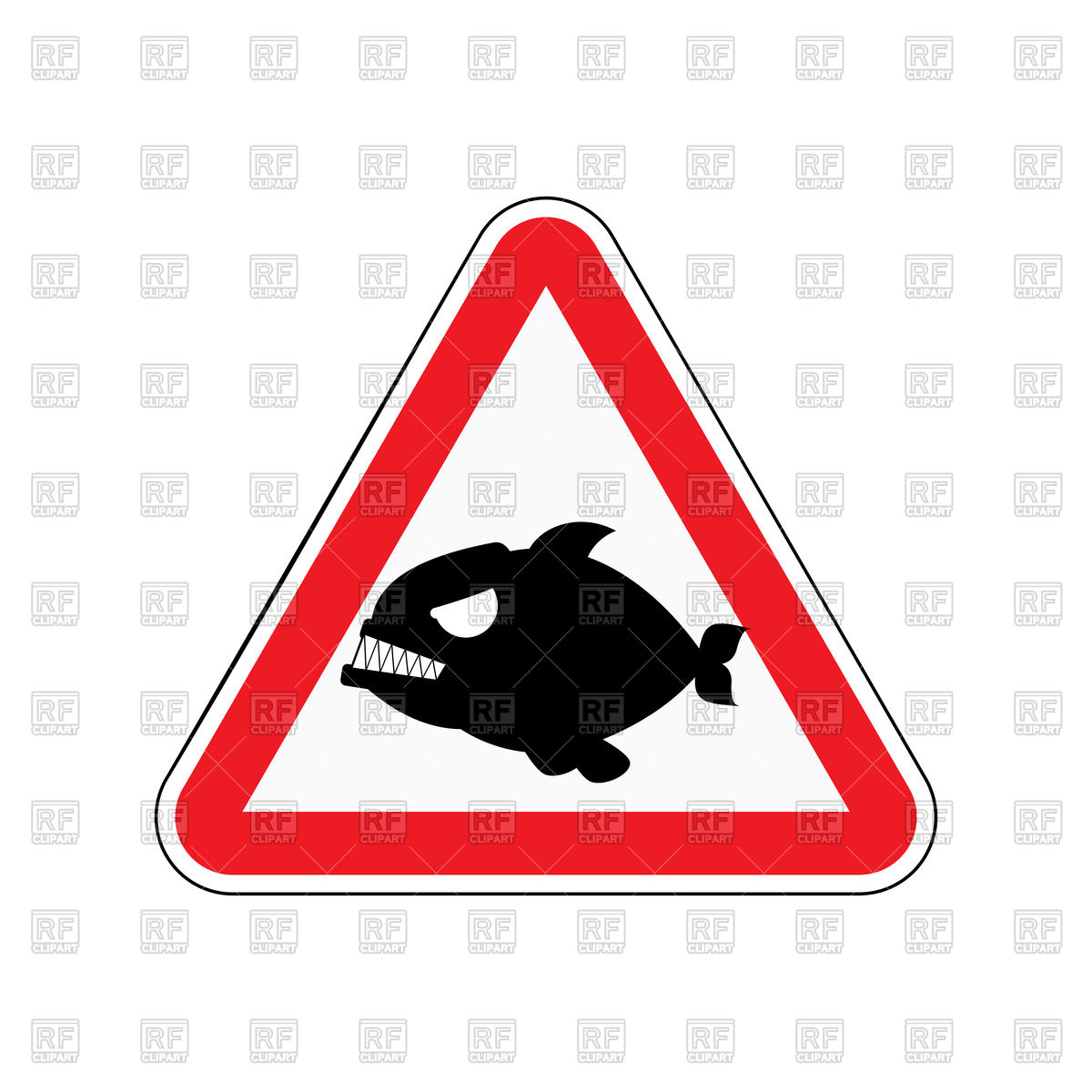 1200x1200 Triangular Red Attention Sign With Silhouette Of Piranha Vector