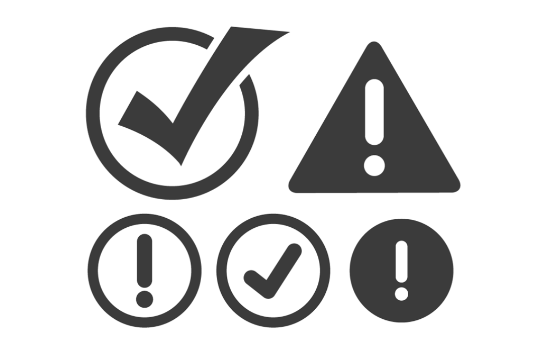 1080x698 Vector Checkmark And Attention Icon Set Trashedgraphics