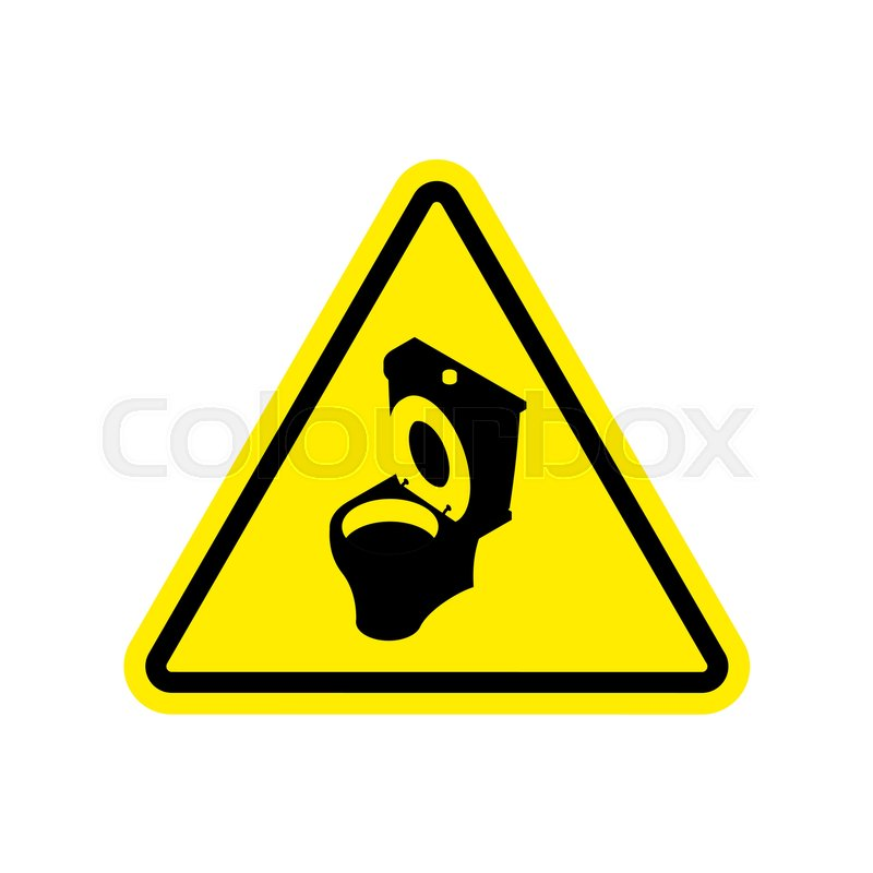 800x800 Warning Wc. Toilet Bowl On Yellow Triangle. Road Sign Attention