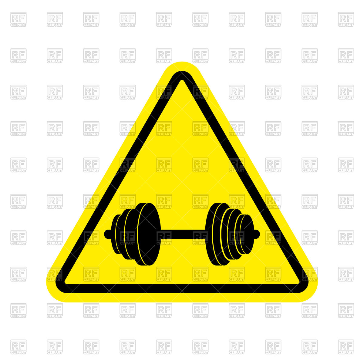 1200x1200 Yellow Attention Sign Of Danger Dumbbell Vector Image Vector