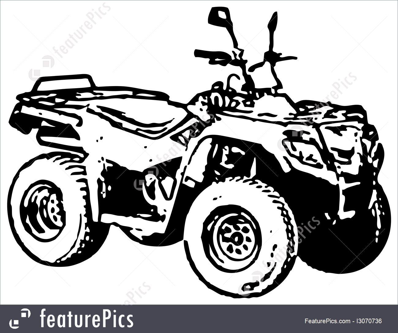1300x1087 Four Wheel Motorbike Atv. Vector.