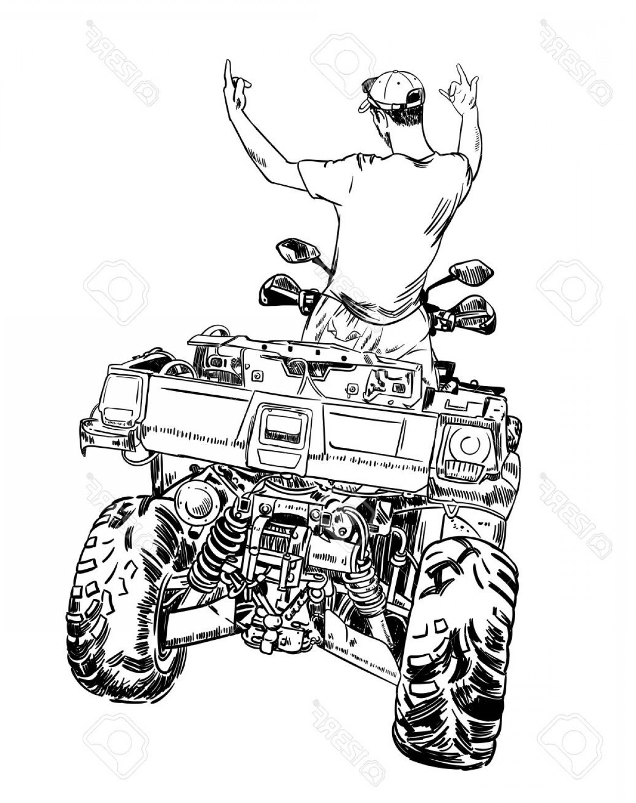 1236x1560 Photostock Vector Sketch Vector Illustration Quad Bike Silhouette
