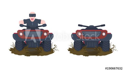 500x286 Atv Quad Bike With Happy Man And Dirty Splash. Flat Vector