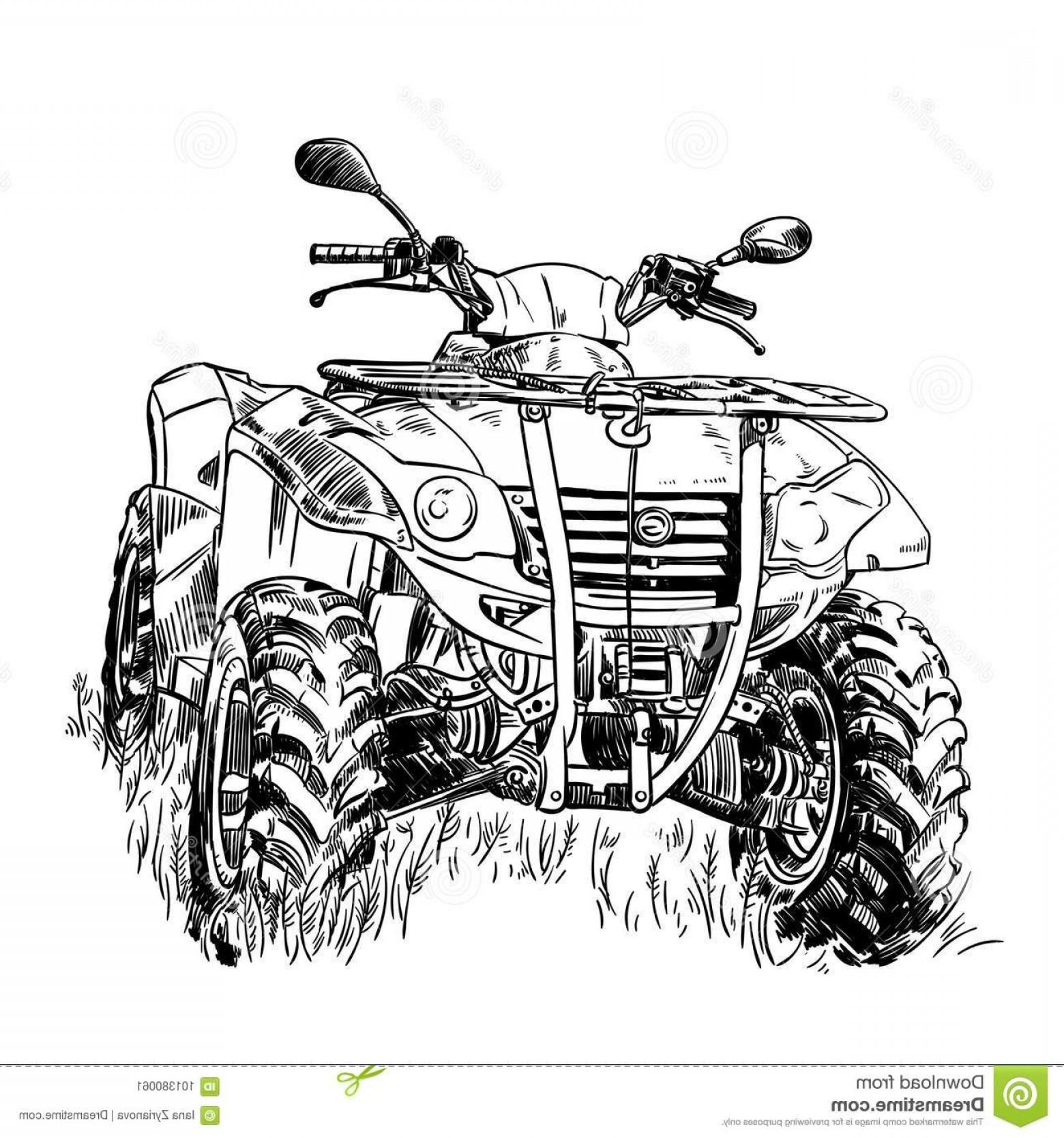 1560x1668 Sketch Vector Illustration Quad Bike Silhouette Atv Logo Design