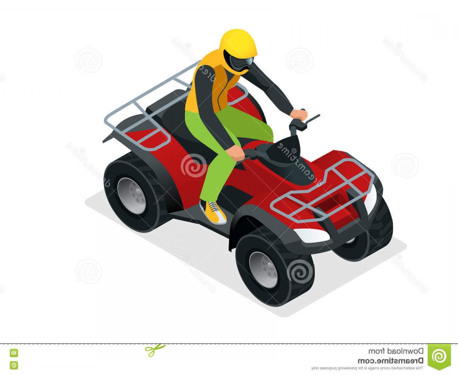 1560x1278 Stock Illustration Atv Rider Action Quad Bike Atv Isometric Vector