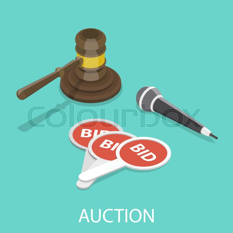 800x800 Auction Flat Isometric Vector Concept. Hammer, Microphone And
