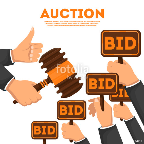500x500 Auction Public Sale Poster With Human Hands Holding Bid Signs