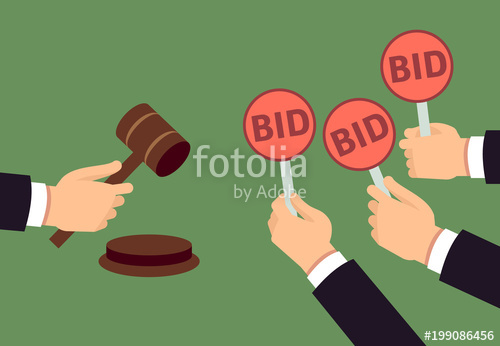 500x346 Bidders Human Arms Holding Bid Paddle And Auctioneer Hand With