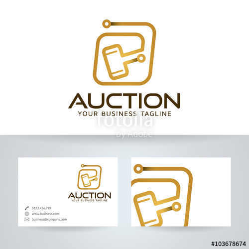 500x500 Digital Auction Vector Logo With Business Card Template Stock