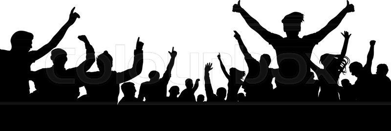 800x269 Crowd Of Cheer Silhouette. People Party Fan Sport Audience Stock