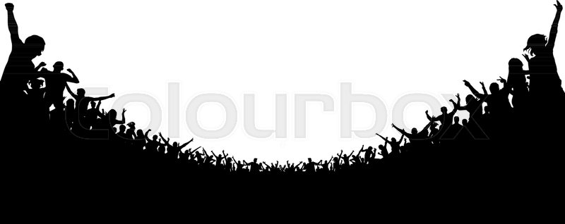 800x318 Crowd Of People Applauded Silhouette. Cheerful Clapping Party