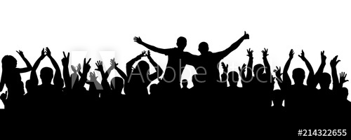 500x200 Crowd Of People Applauding Silhouette. Cheerful Audience, Vector