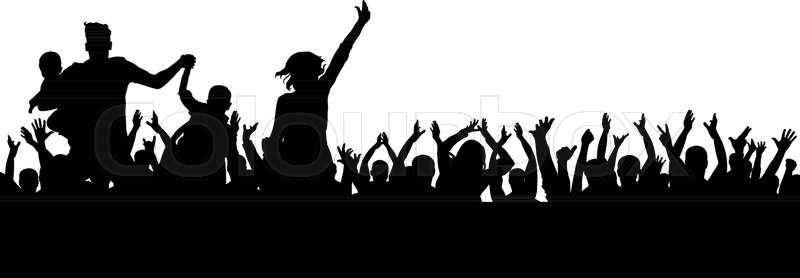 800x278 Party Crowd Vector, Cheerful Silhouette, Cheers Sport Stock