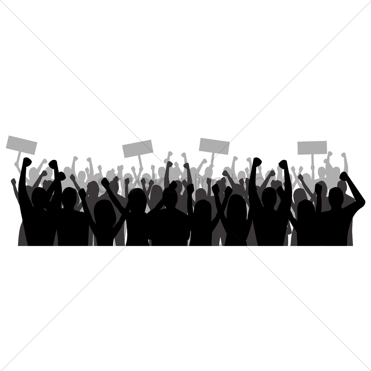 1300x1300 Silhouette Of Cheering Crowd Vector Image