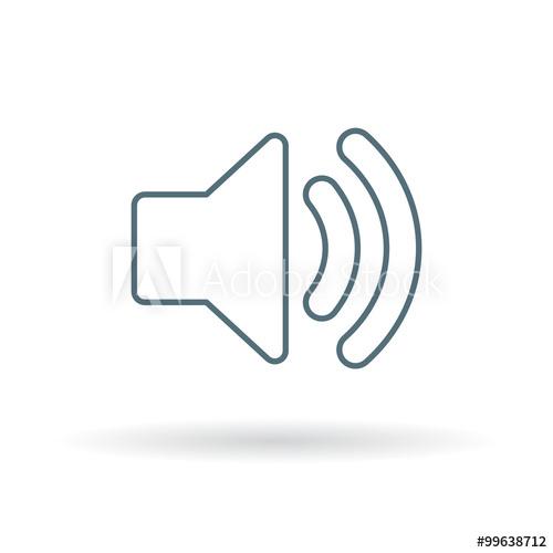 500x500 Audio Icon. Speaker Sign. Volume Symbol. Thin Line Icon On White