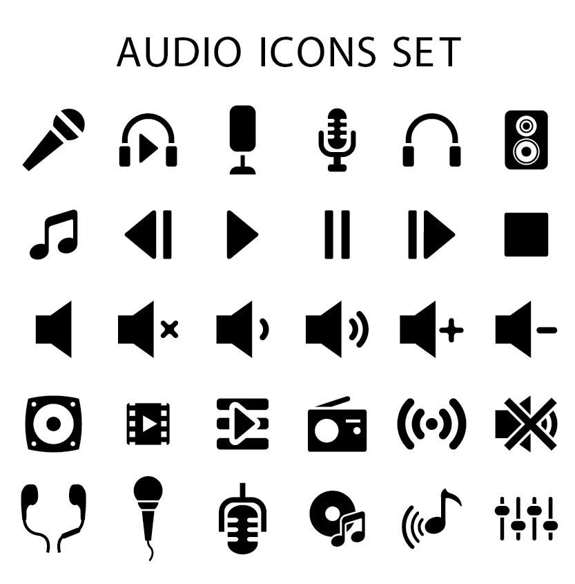 833x845 Flat Audio Icons Pack