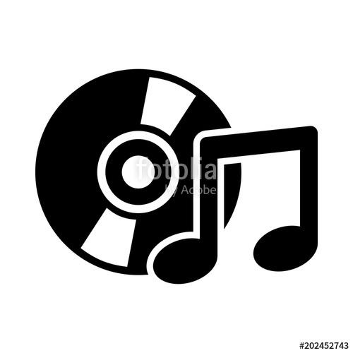 500x500 Music Icon. Cd Icon. Sound, Audio Sign. Multimedia Icon. Vector