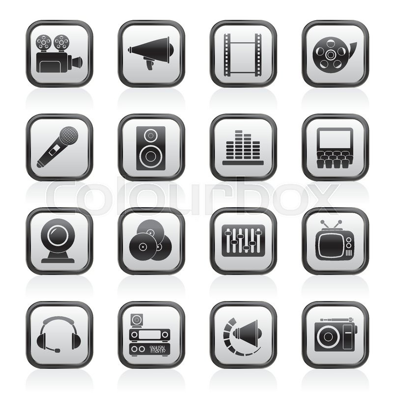 800x800 Silhouette Audio And Video Icons