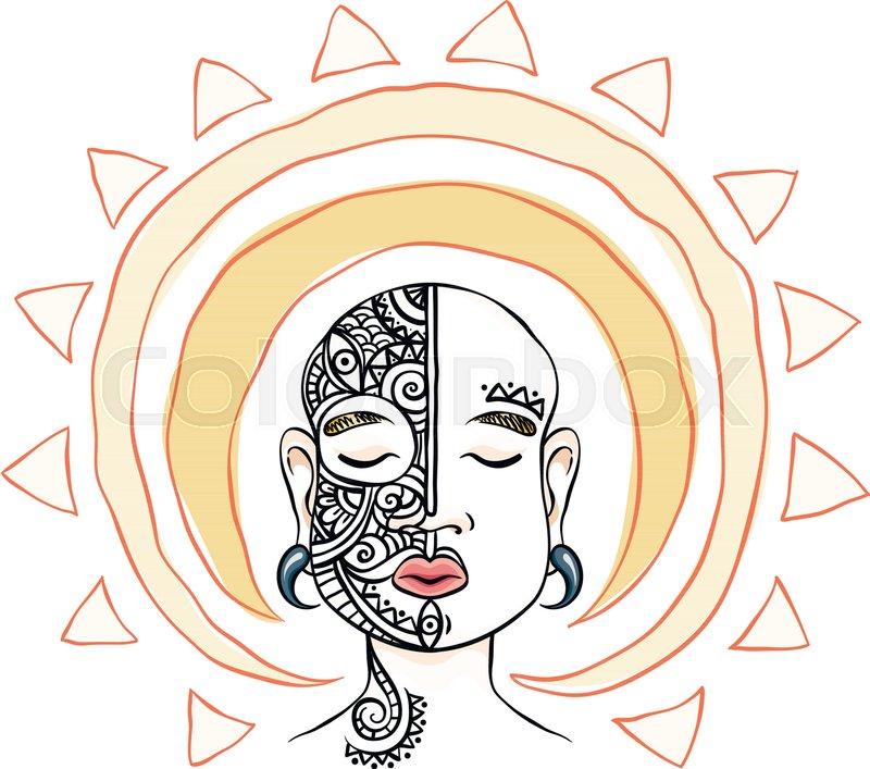 800x707 Meditation Head With Sun Aura. Vector Illustration. Mask