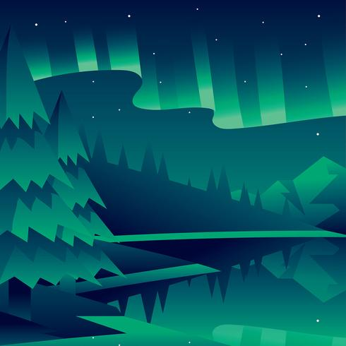 490x490 Northern Lights Landscape Green Vector