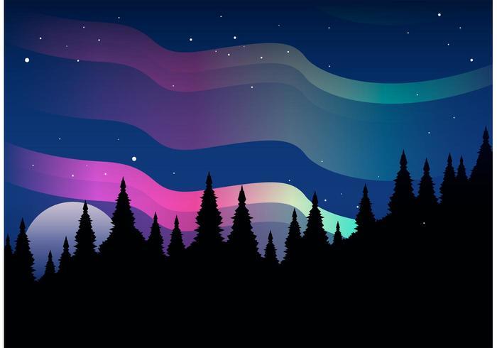 700x490 Northern Lights Vector Landscape