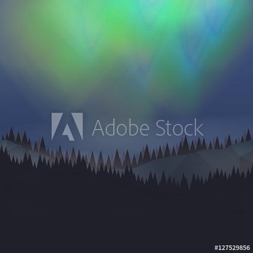 500x500 Forest Landscape With Northern Aurora