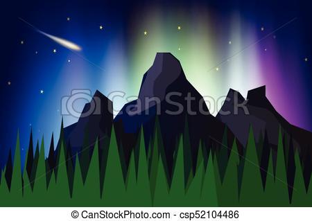 450x319 Lanscape Mountain View With Aurora Borealis Abstract Background