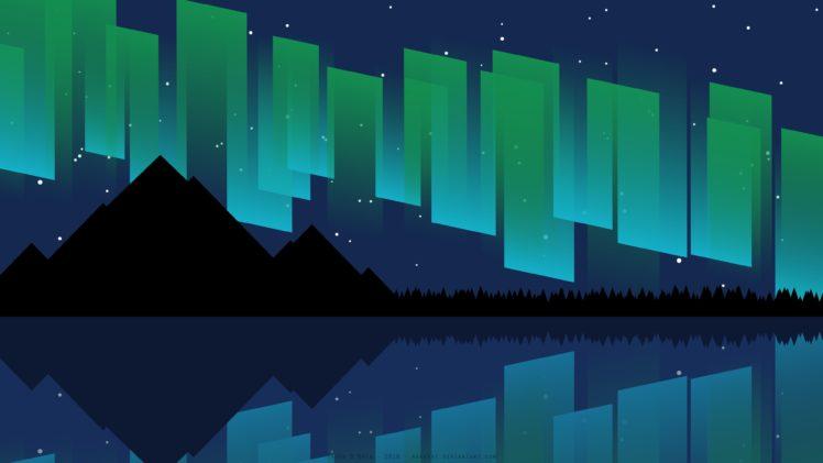 748x421 Aurora, Sea, Mountains, Digital Art, Vector, Night, Stars