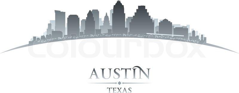 800x313 Austin Texas City Skyline Silhouette. Vector Illustration Stock