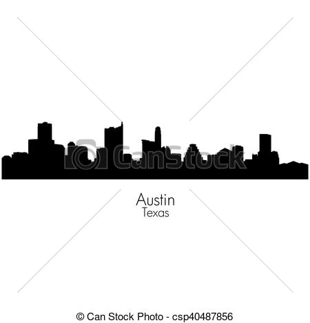 450x470 Austin City, Capital Of Texas Vector Silhouette Skyline. Austin