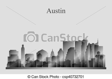 450x319 Austin City Skyline Silhouette In Grayscale Vector Illustration.