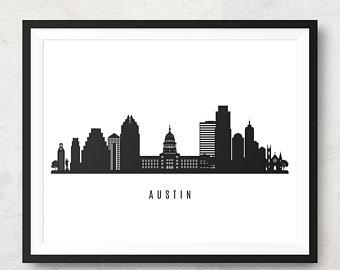 340x270 Austin Skyline Etsy