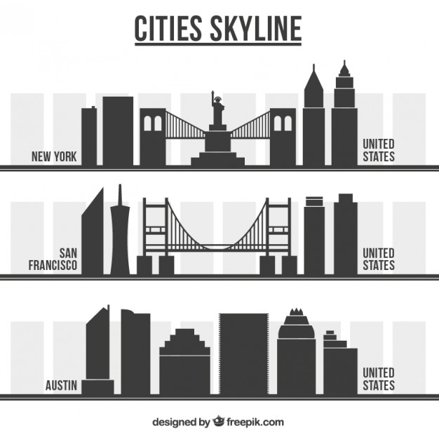 626x626 American City Skylines Vector Free Download