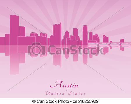 450x357 Austin Skyline In Purple Radiant Orchid In Editable Vector File.