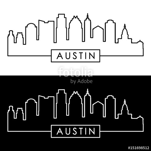 500x500 Austin Skyline. Linear Style. Editable Vector File. Stock Image