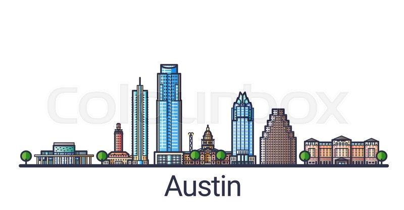 800x416 Banner Of Austin City In Flat Line Trendy Style. Austin City Line