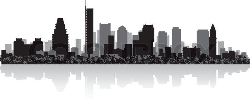 800x331 Boston City Skyline Silhouette Stock Vector Colourbox